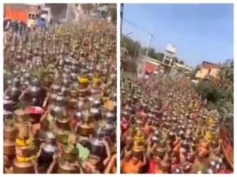 अहमदाबाद में  उमड़ी सैकड़ों महिला श्रद्धालुओं की भीड़