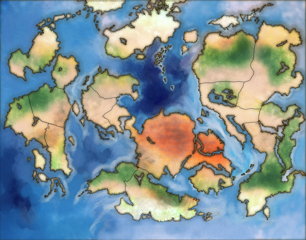 World Map For Fantasy Novel With Colored Ocean And