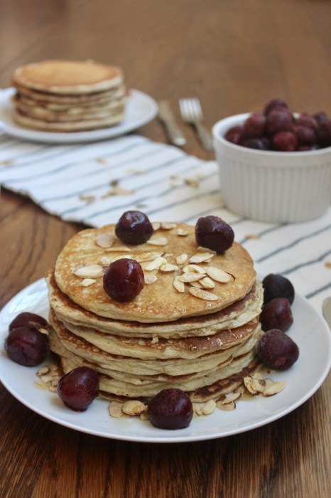 whole wheat almond protein pancakes