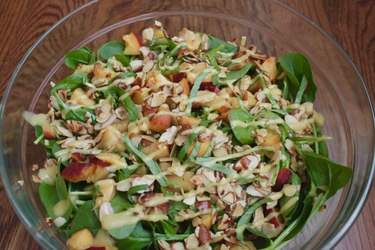 gluten-free vegan peach spinach salad