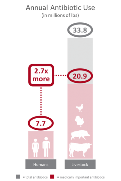 comparison of annual antibiotic use in the united states for livestock and humans