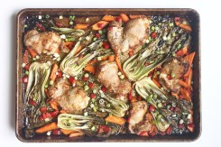 roasted sesame ginger chicken one pan meal