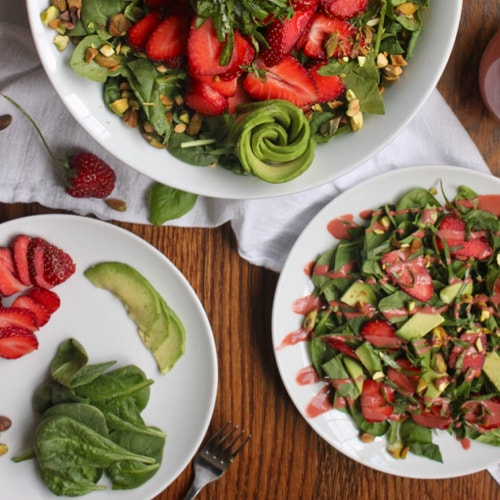 plating strawberry salad for kids