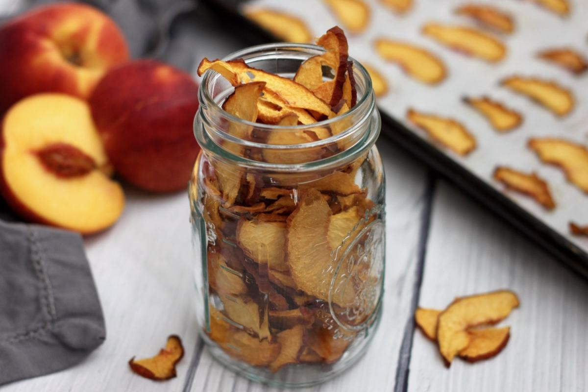 Oven Dried Peach Chips {Vegan, Paleo}