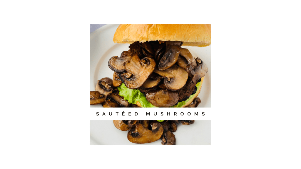 Shows browned and crisp edges on mushrooms