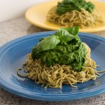 Edamame Pasta with Mixed Green Pesto | Feed Your Skull
