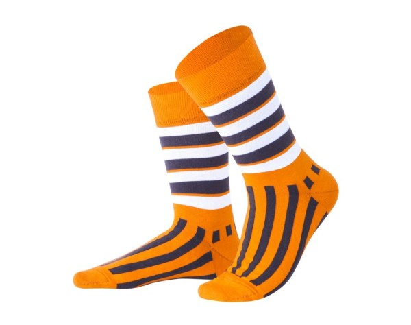 "Socks ""Vertical orange stripes"", Creative collection"