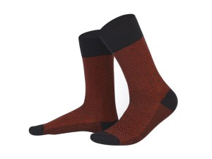 Jacquard dark red + black socks, Creative collection