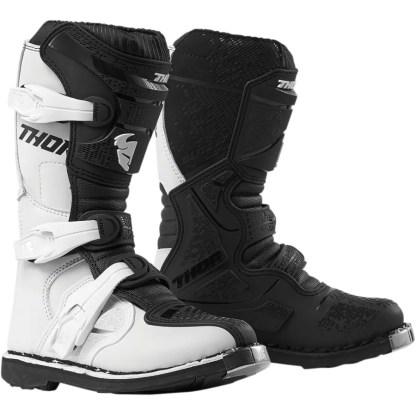 Thor Blitz XP White/Black Motocross Boots Youth