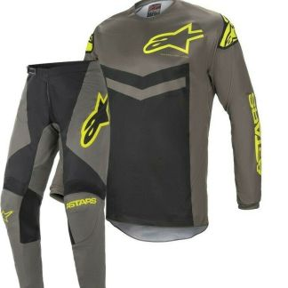 Alpinestars Adult FLUID Speed Dark Grey Yellow 2021 MX Kit Adult