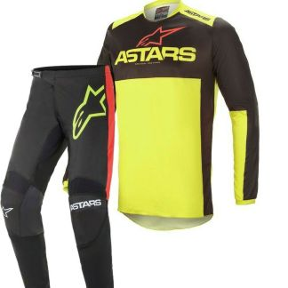 Alpinestars FLUID Tripple Black Yellow Red 2021 MX Kit Adult