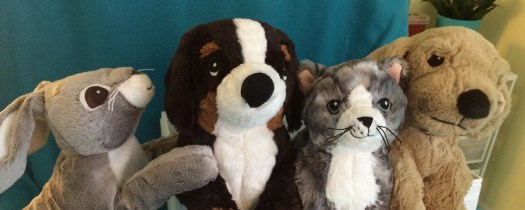 four stuffed animals: a tan rabbit, a brown and white dog, a gray tabby kitten, and a golden lab puppy