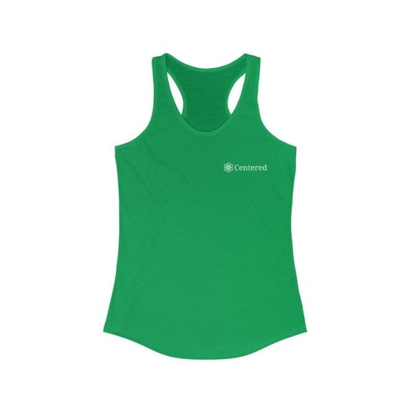 Centered Women's Ideal Racerback Tank Solid Kelly Green