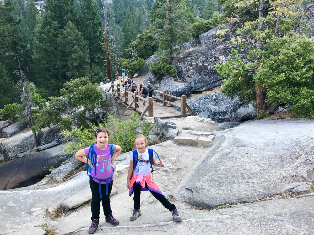 Kids on the Mist Trail, about to cross the wood bridge on the way to Nevada Fall