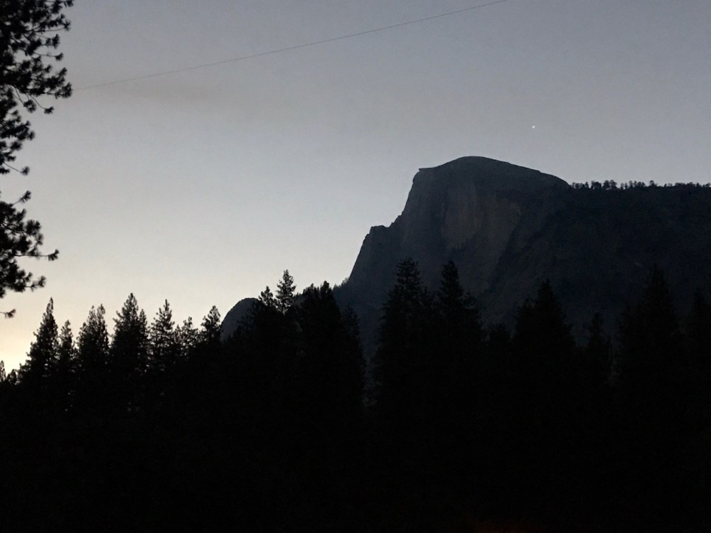Half Dome as we saw it from the parking lot early in the morning