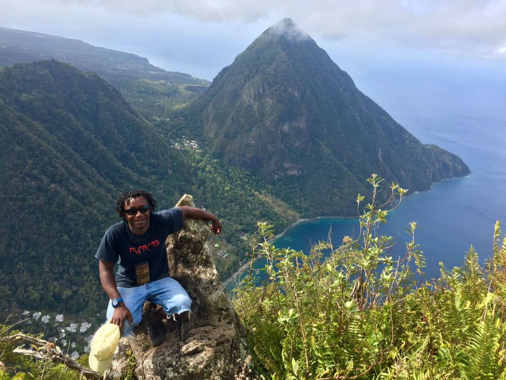 My Lucian Guide Mervin with Gros Piton in the Background