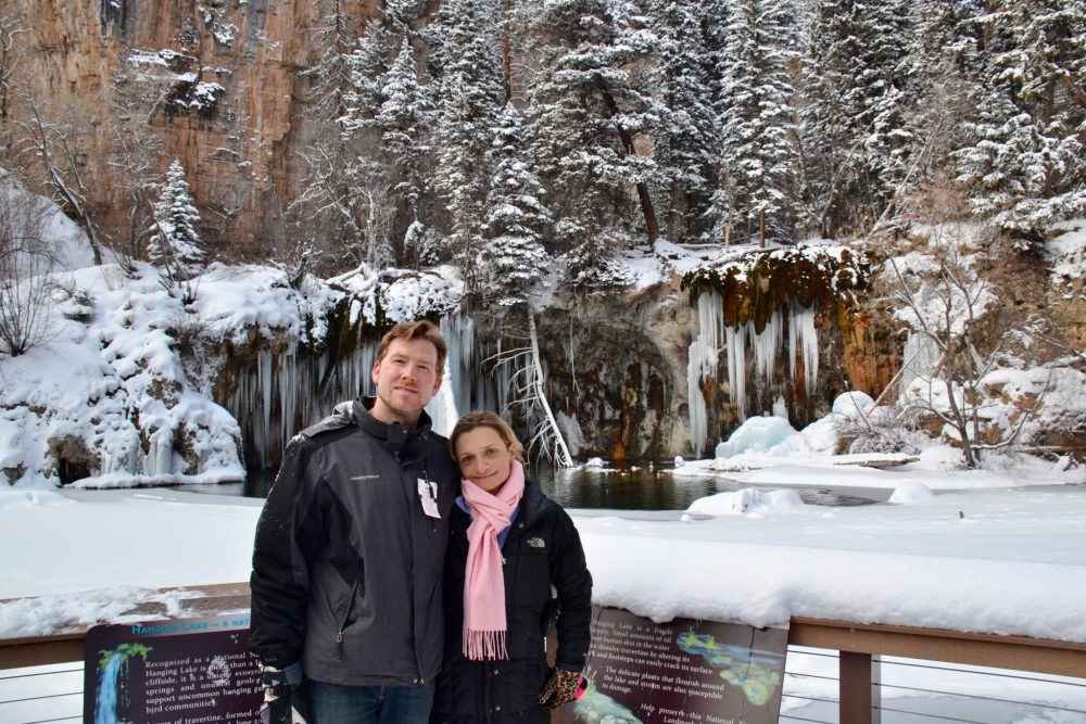 Standing in from of Hanging Lake in Colorado