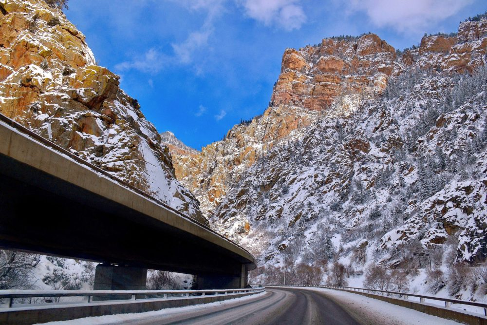 On I-70 in Glenwood Canyon