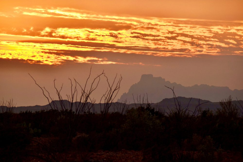 Chisos Mountains under a sunset sky