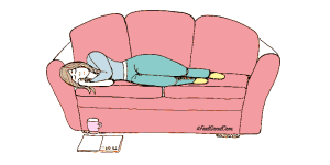 Illustration of me lying on the sofa