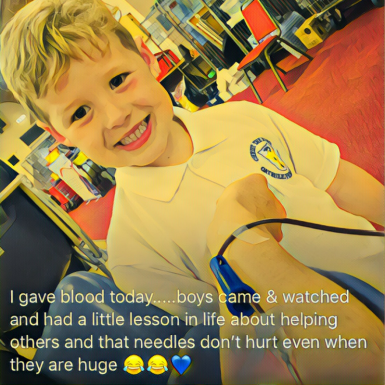 Ollie Supporting his Mum whilst she gave blood