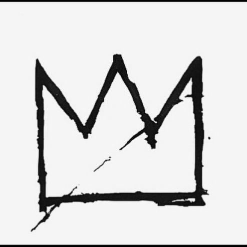 Jean Michel Basquiat logo, black crown on white background