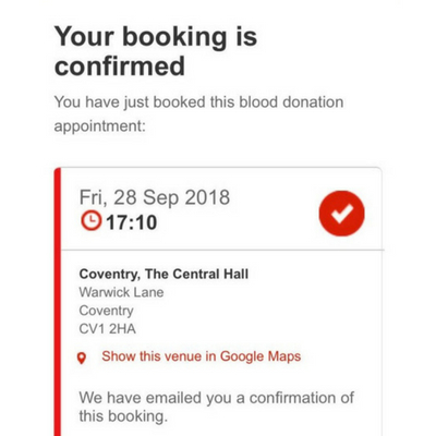 Screenshot of Give Blood booking confirmation