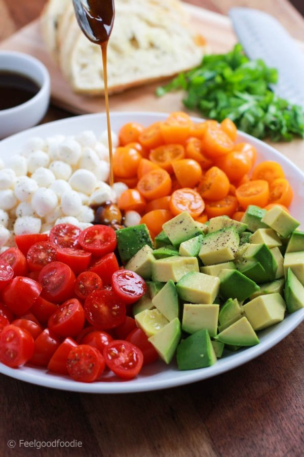 This Avocado Caprese Salad is colorful, refreshing and bursting with fresh flavor. It's a perfect appetizer or side dish to make that everyone will enjoy!