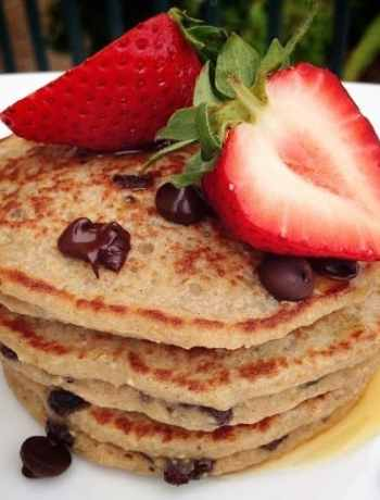 Chocolate Chip Banana Oat Pancakes made using oat flour instead of traditional all-purpose flour, for a gluten-free sweet variation for brunch