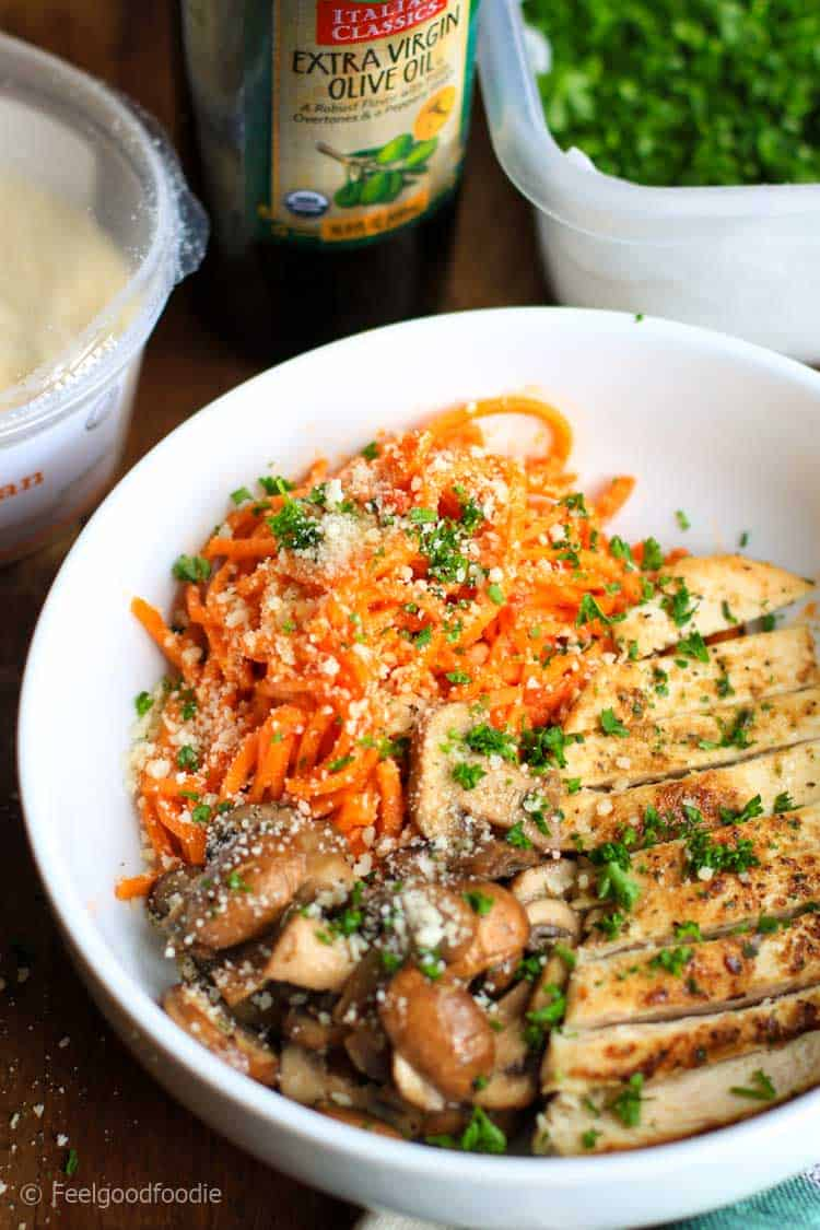 Delicious spiralized Sweet Potato Noodles with Grilled Chicken & Mushrooms - it's a low-carb power bowl full of nutrition and flavor!