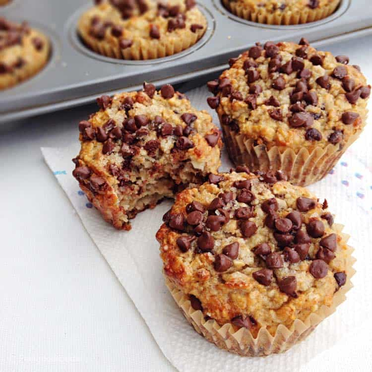 Gluten-Free Banana Chocolate Chip Muffins that are made completely with no oil and no refined sugar but they're bursting with wholesome goodness and flavor!