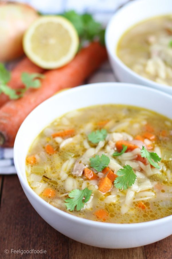 A modern take on chicken noodle soup, this Chicken Lemon Orzo Soup is full of juicy chicken, heart-healthy vegetables and a delightful lemony broth!