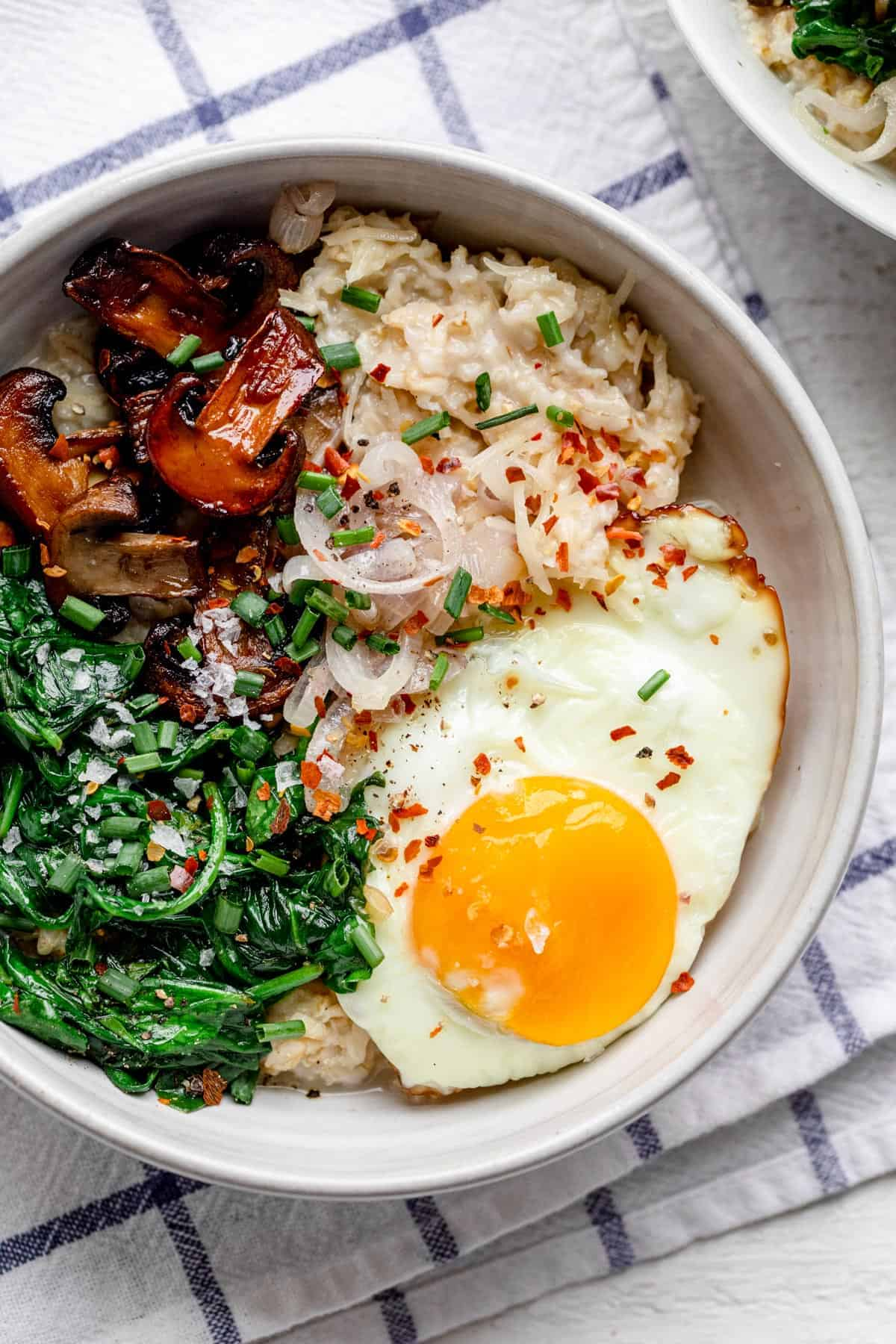 savory oatmeal with egg breakfast