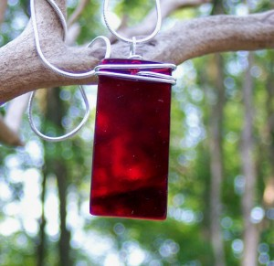 Ruby Glass Pendant on Sterling Silver Chain
