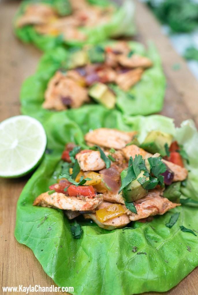 Low Carb Chicken Fajita Lettuce Wraps - Easy Dinner Recipes