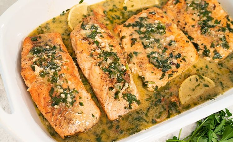 PAN SEARED SALMON   with Lemon Butter Cream Sauce (grain free, low carb)