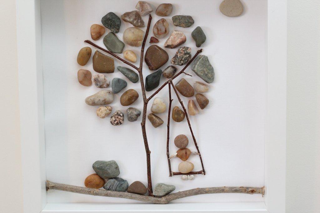 framed pebble art tree wall decor