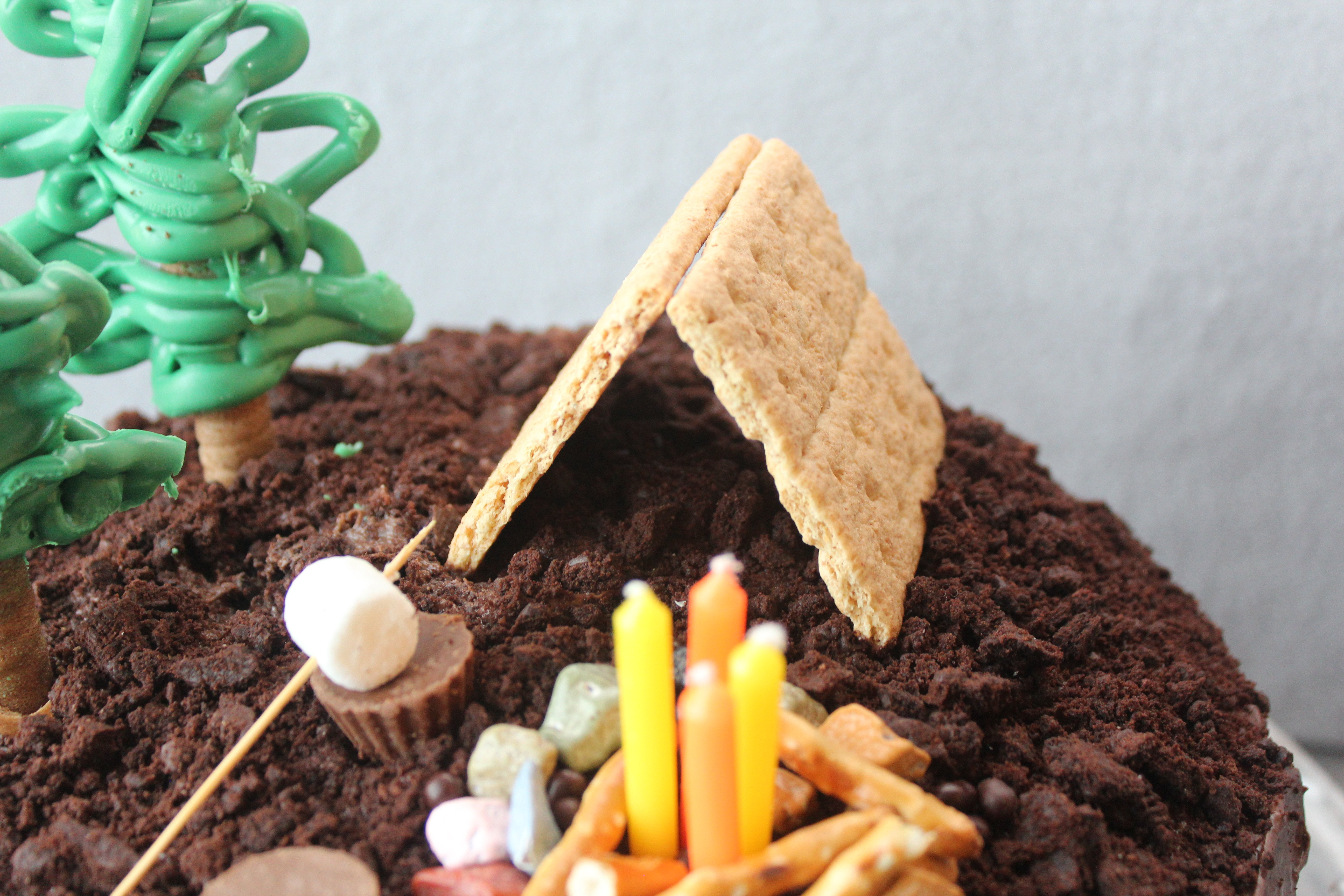 camping cake with graham cracker tent