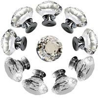 Drawer Knob Pull Handle Crystal Glass Diamond Shape Cabinet Drawer Pulls Cupboard Knobs with Screws for Home Office Cabinet Cupboard Bonus Silver Screws DIY (10 Pieces)