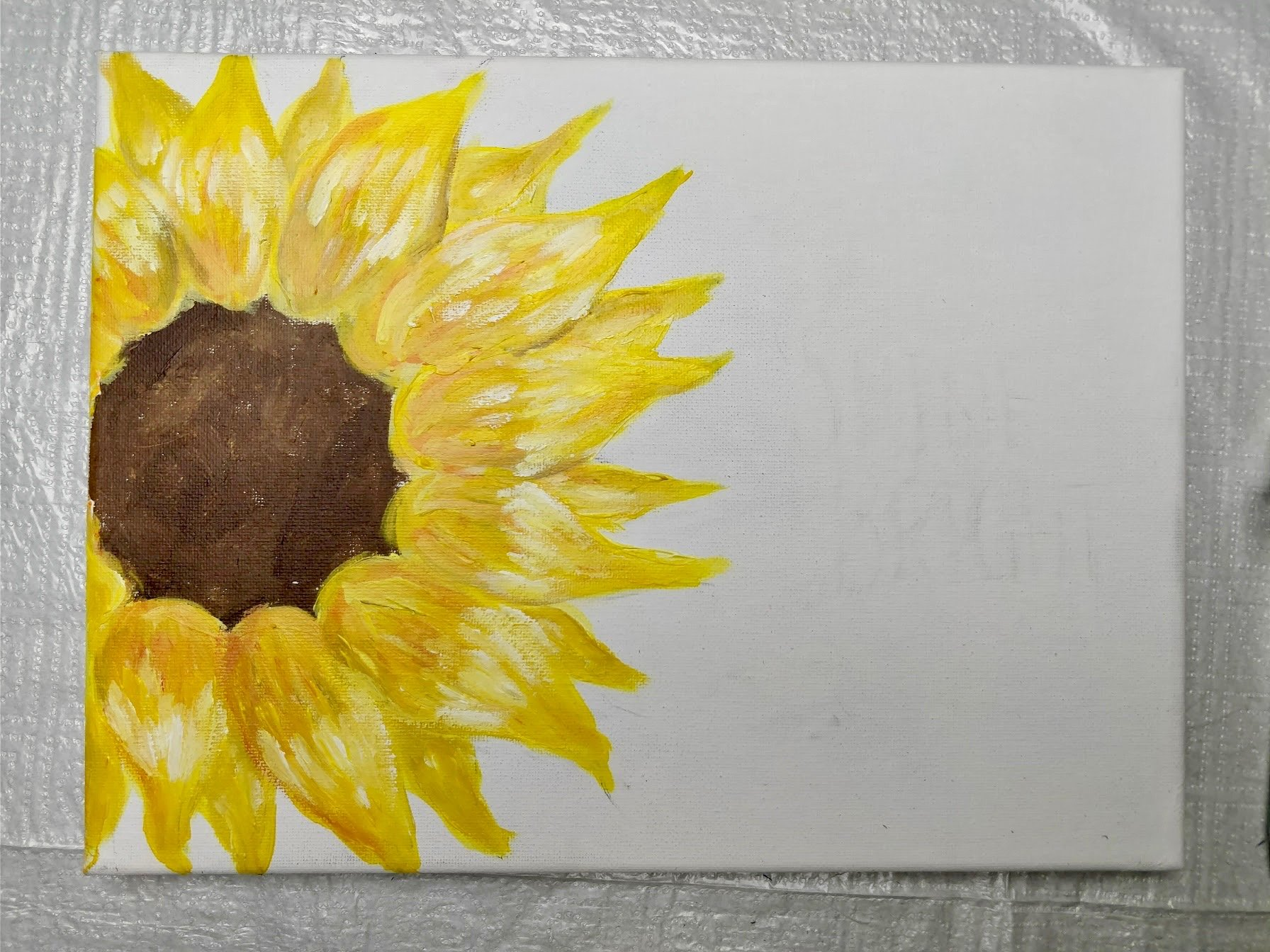 painting sunflowers in acrylic