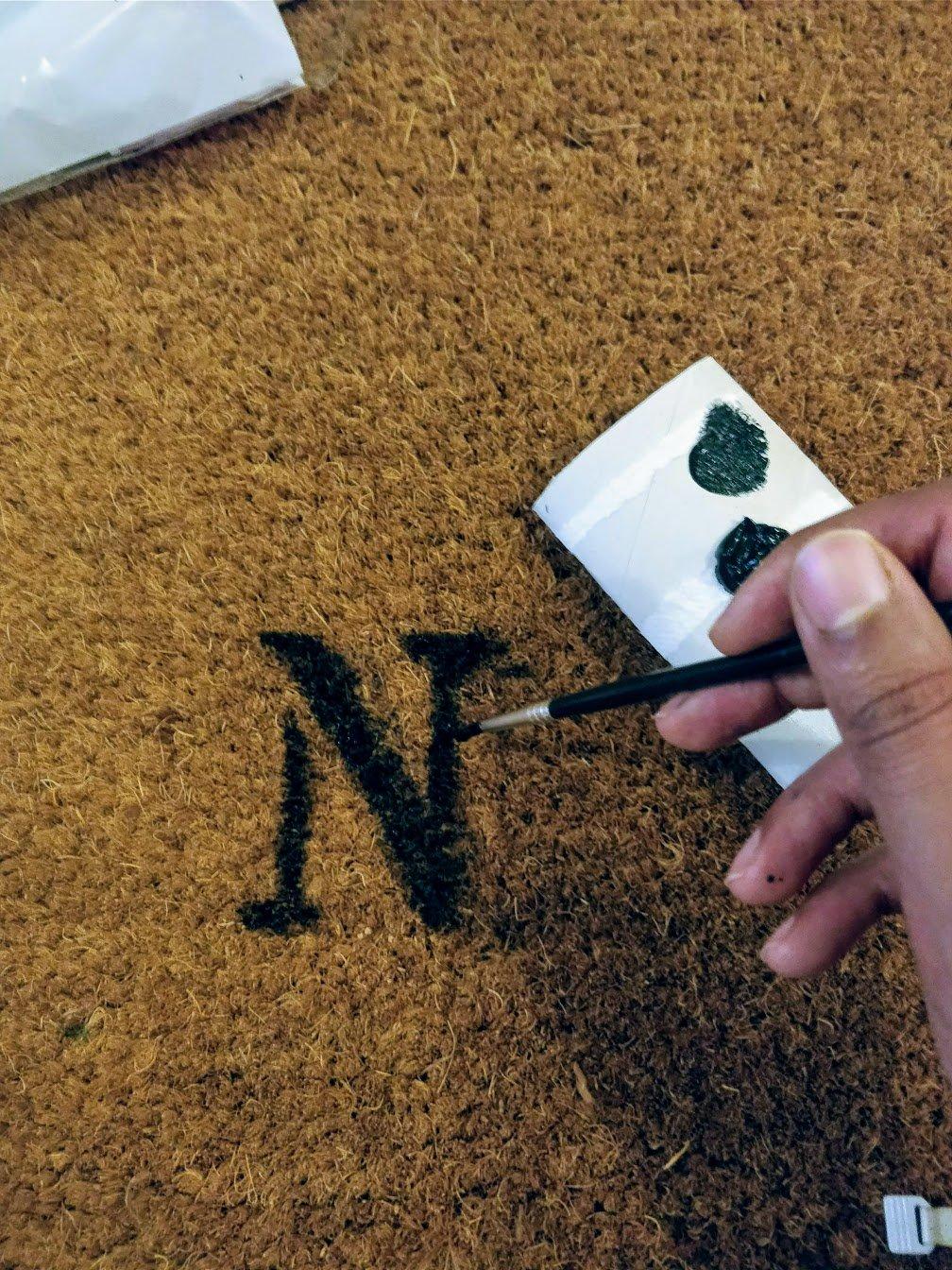 funny doormat stencil paint