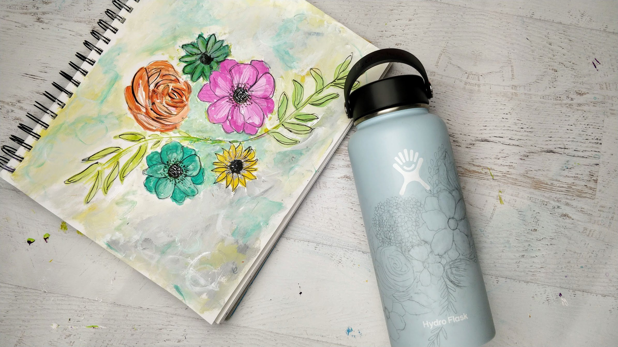Hydroflask-Flowers-pencil-tracing-design