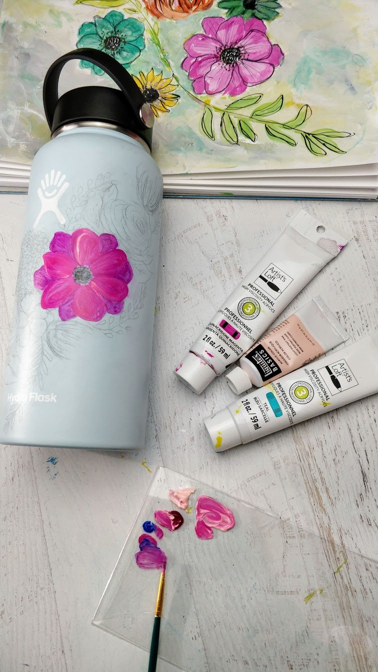 Hydro flask painting flower