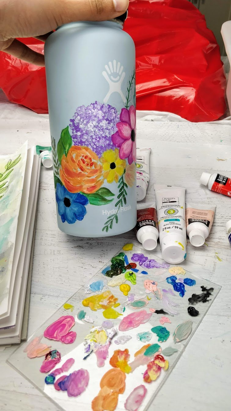Hydroflask painted flowers process step 3