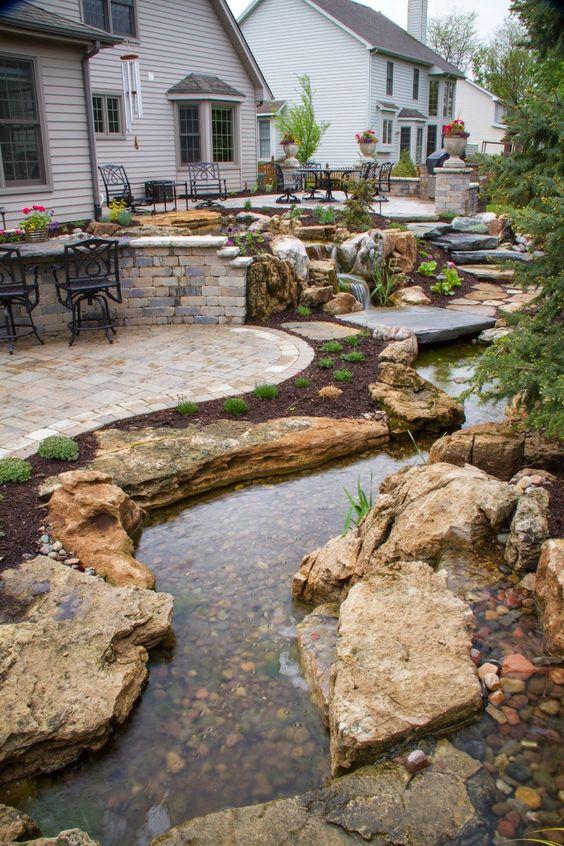 20 Outstanding Natural Garden Stream Designs That Will ... on Backyard Stream Ideas id=26268