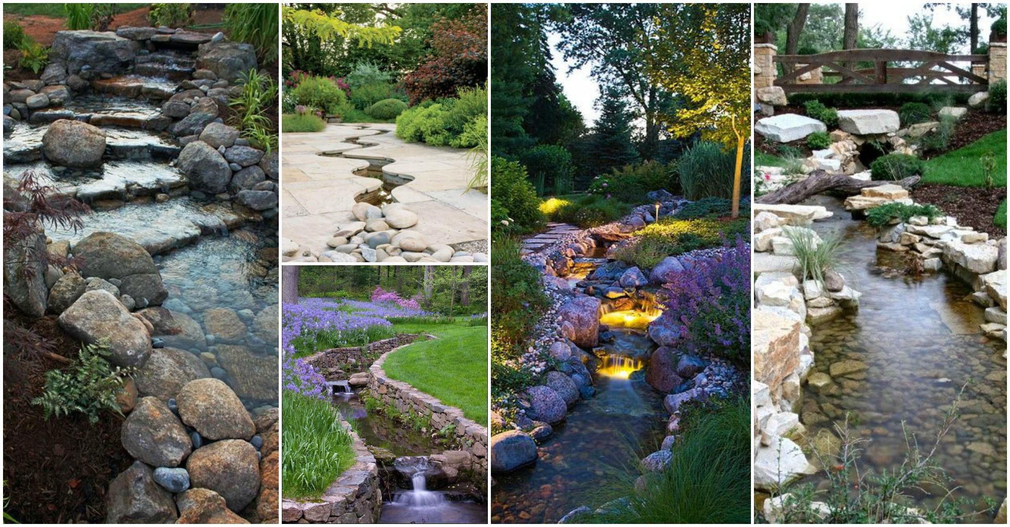 20 Outstanding Natural Garden Stream Designs That Will ... on Backyard Stream Ideas id=39291