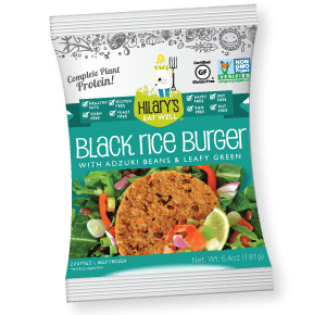 hilary's eat well black rice burger