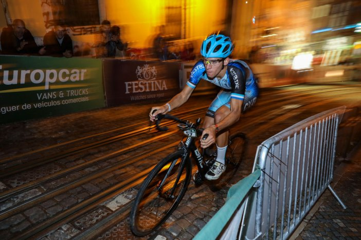 A cyclist in competition on the