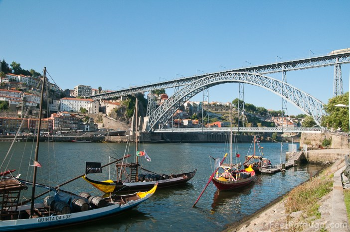 Luis I Bridge  over the Douro River and Rabelo boats