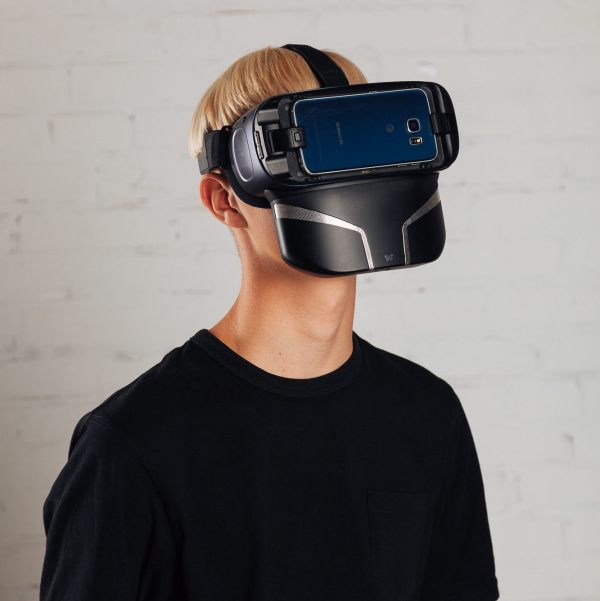 Man in Samsung Gear VR device wearing Feelreal Multisensory VR Mask